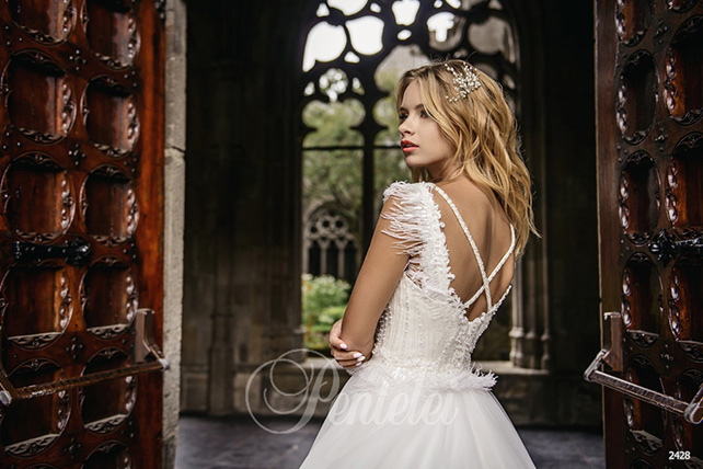 wedding dresses with feathers photo