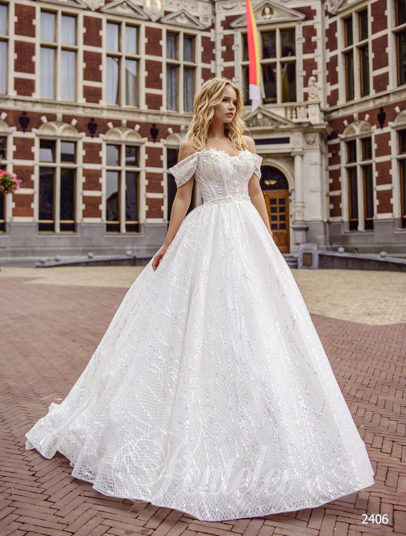 Пышное свадебное платье с приспущенными плечами
