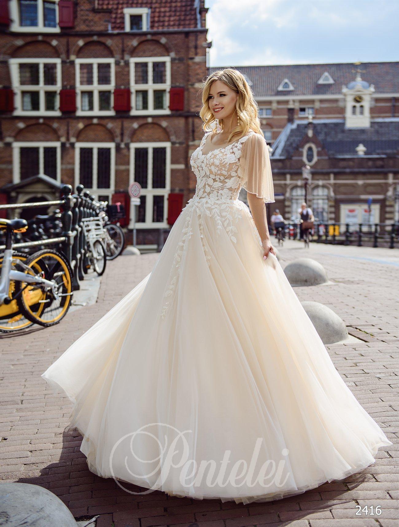 Свадебное платье айвори с рукавчиками