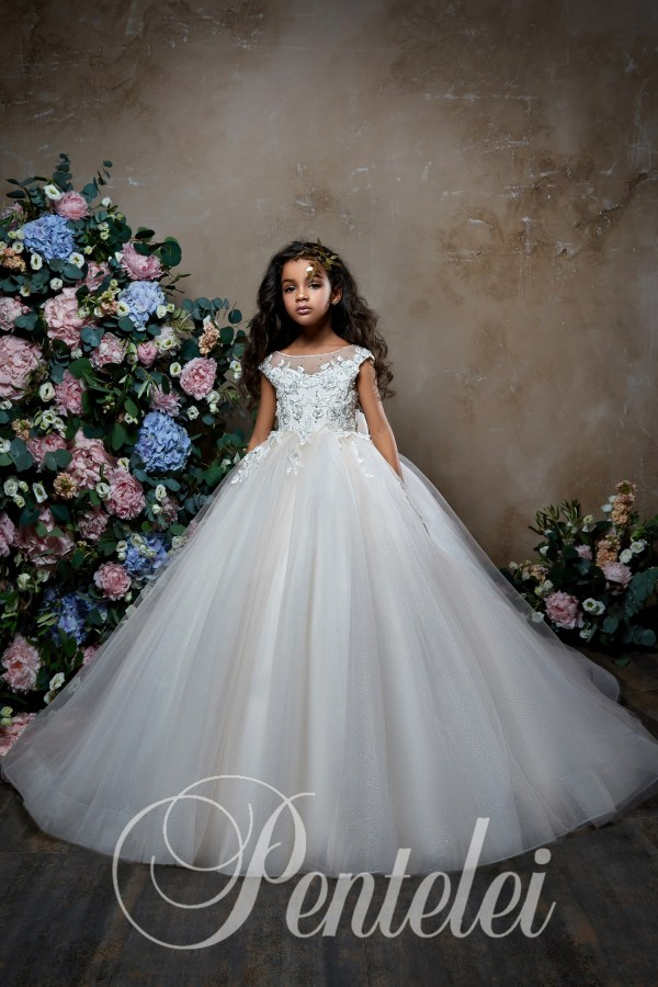 Ball gown children dress with fatin skirt and appliques wholesale from Pentelei