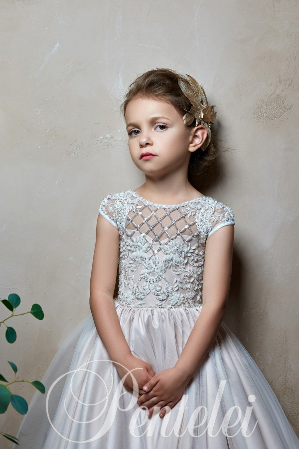 Children's dress with a pleated skirt and lace corset wholesale from Pentelei
