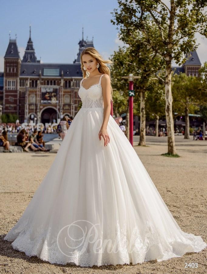 5d80e8b9339d13 Весільна сукня на тонких бретелях   Купити весільні сукні оптом від Pentelei