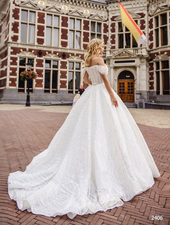 Quinceanera wedding dress with half-mast straps| Buy wedding dresses wholesale from Pentelei