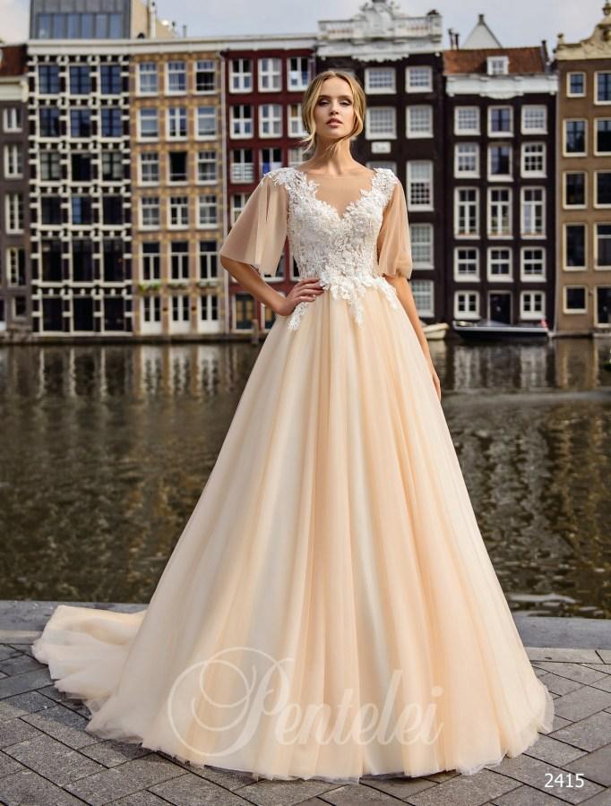 c9d67f190d60fb Весільна сукня з рукавами крильцями кольору айворі оптом від Pentelei
